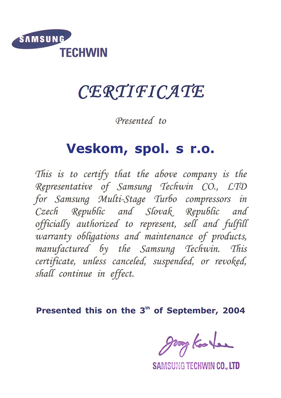 Certificates and awards - About us | VESKOM